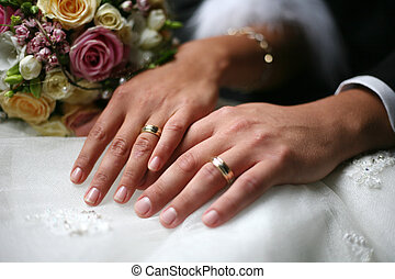 Wedding rings - Hand of the groom and the bride with wedding...