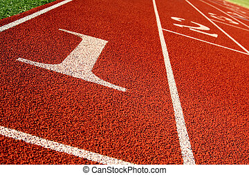 Track and field - A shot of a running track and field start...