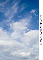 high stratocumulus - leaden clouds. grey clouds and blue sky