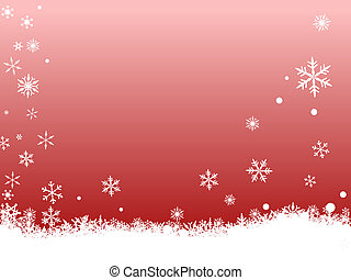 White SnowFlakes on Red - Border of snowflakes on a red...