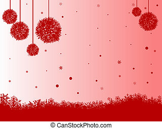 Red SnowFlakes and Balls on Red white fade - Red Snowflakes...