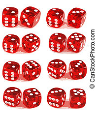 2 Dice Showing All Numbers (2 of 3) - 2 Dice close up -...
