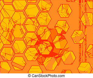 Hex - Abstract background of orange hexagonal shapes
