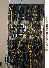 Network Patch Panel - A rack containing network patch panels...