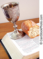 Holy Communion - Bible,bread,and wine cup Holy Communion