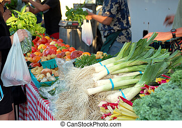Farmers Market - Vegetable stands at the Farmers Market