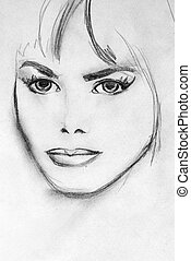 beautiful woman - it\\\'s scan of my sketch by my...