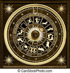 Zodiac Sephia - Sephia zodiac clock with gold deatail and...