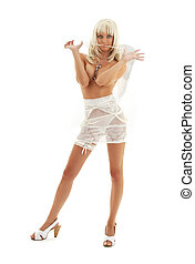 white angel on high heels 3 - white lingerie angel girl on...