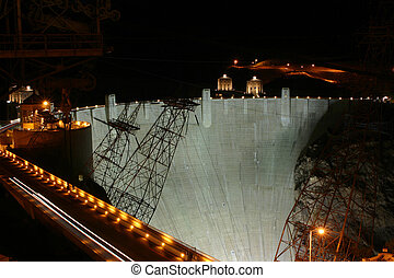 hoover dam night - A shot of the Hoover Dam at nighttime.
