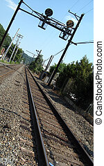 Railroad, tracks, signs and poles