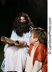Reading the scriptures - Jesus with a child or other...