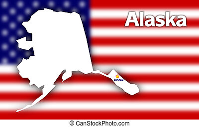 Alaska state contour with Capital City against blurred USA...