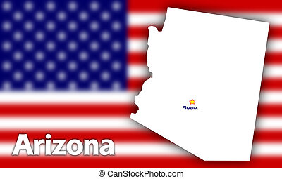 Arizona state contour with Capital City against blurred USA...
