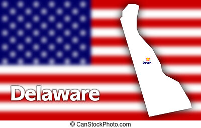 Delaware state contour with Capital City against blurred USA...