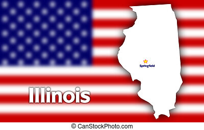 Illinois state contour with Capital City against blurred USA...