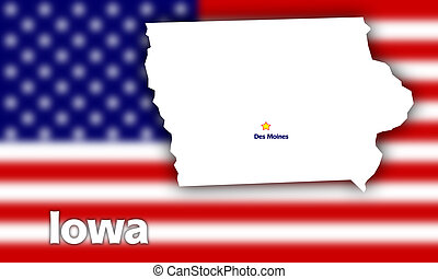 Iowa state contour with Capital City against blurred USA...