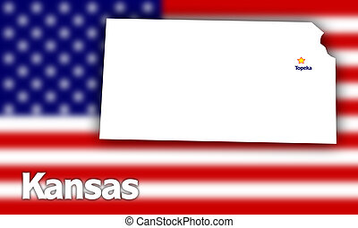 Kansas state contour with Capital City against blurred USA...