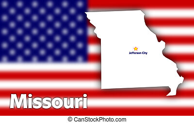 Missouri state contour with Capital City against blurred USA...