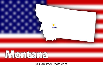 Montana state contour with Capital City against blurred USA...