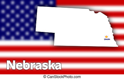 Nebraska state contour with Capital City against blurred USA...