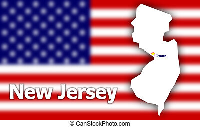 New Jersey state contour with Capital City against blurred...
