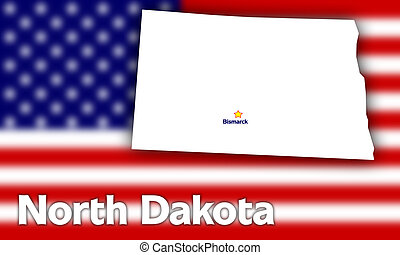 North Dakota state contour with Capital City against blurred...
