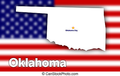 Oklahoma state contour with Capital City against blurred USA...