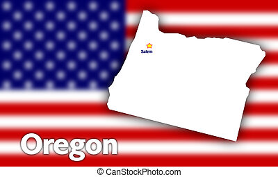 Oregon state contour with Capital City against blurred USA...