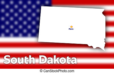 South Dakota state contour with Capital City against blurred...