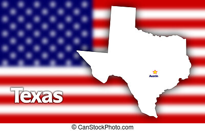 Texas state contour with Capital City against blurred USA...