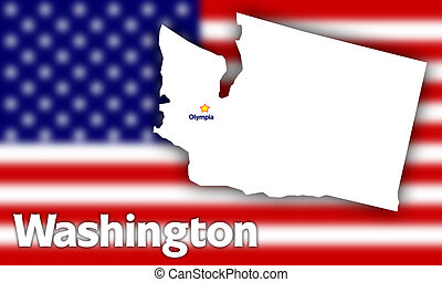 Washington state contour with Capital City against blurred...