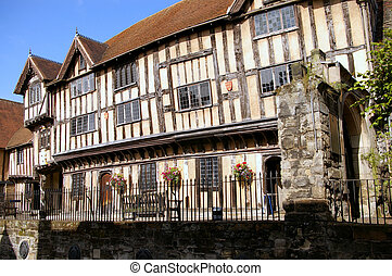 Lord Leycester hospital 2 - An old half timbered building in...