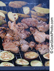 Barbecue grilled meat and eggplants - Delicious barbecue...