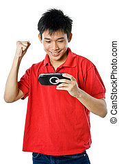 First Place - Young teenage guy wearing red shirt, blue...