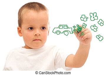 Boy drawing a green car concept - environmental awareness -...
