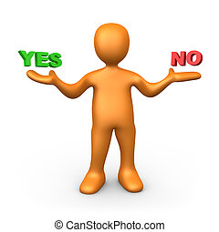 Yes or No - 3d person pointing at the options Yes or No
