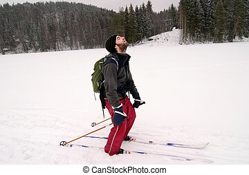 Tired Cross Country Skiier - A cross country skiier looking...