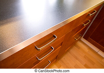 Kitchen Counter and Drawer - A detail close up image of a...