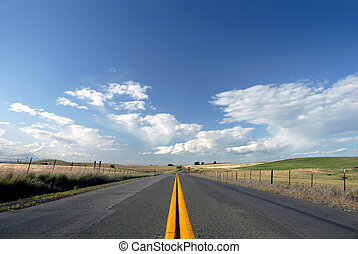 Rural Two Lane Road Through Scenic California Ranch Land