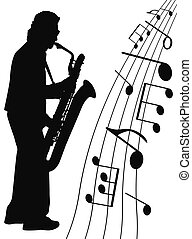 Jazz for sax - musican and music symbols on white background