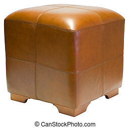 Leather Cube Ottoman - Contemporary Brown Leather Cube...