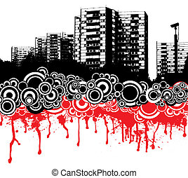 city dribble - City scape in red and black with a cctv...