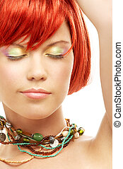 green beads redhead with eyes closed - picture of green...