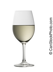 glass of sauvignon blanc on white with clipping path