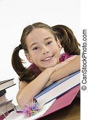 Child 383 - Child working on homework on white background