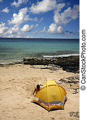 Beach Camping - Yellow tent on the beach with pretty sky