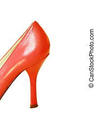 vermelho, couro, alto, calcanhar, sapato