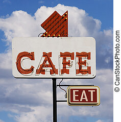 Cafe Eat Sign - Old cafe sign with the word eat against a...