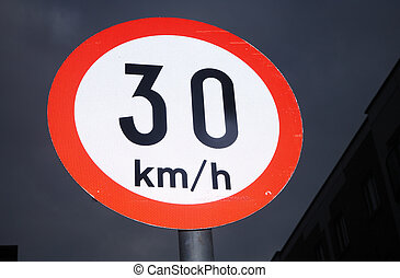 Irish 30 kmh sign. - An Irish 30 kmh speed sign in the dark...